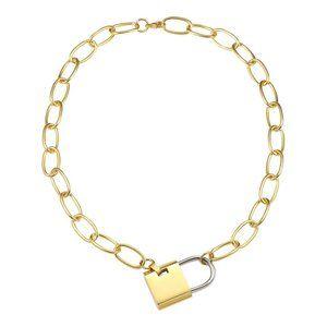 Jewelry - 18K Gold Stainless Steel Padlock Pendant Chain